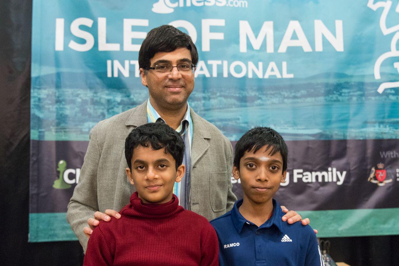 Nihail Sarin, Vishy Anand and Praggnanandhaa