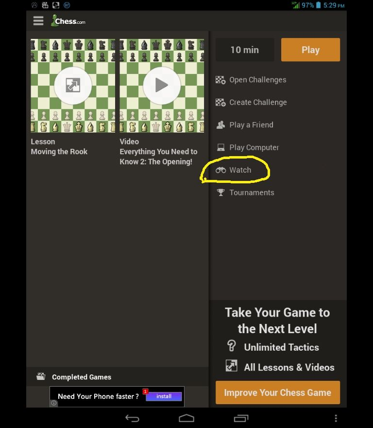 Chess com mobile app -- observe live chess? - Chess Forums