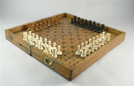 Vintage 4 player chessboard. Source: http://www.crumiller.com/chess/chess_pages/miscellanea/Victorian4PlayerChessSet.htm