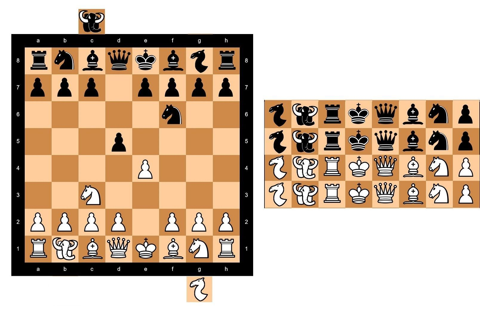 Musketeer Chess  Game2 With New Pieces  Mammoth  U0026 Camel