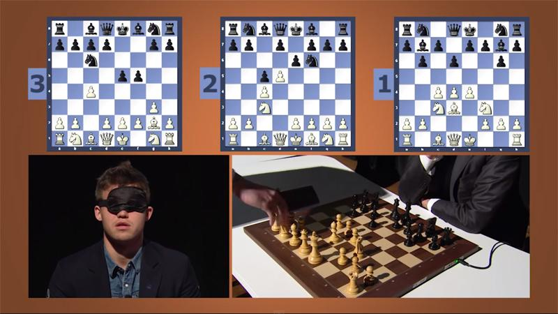 Magnus Carlsen Plays Three-Board Blindfold Simul