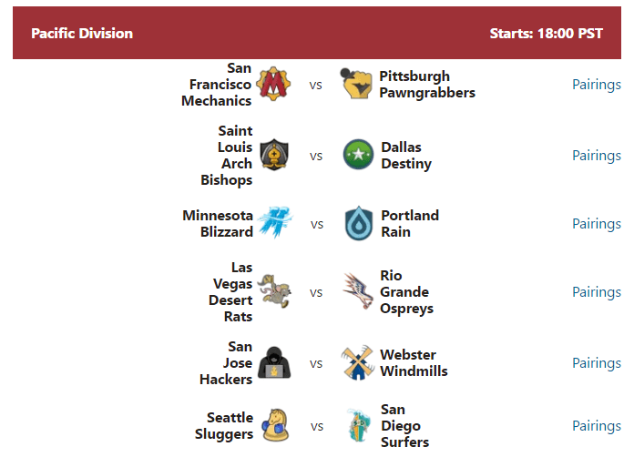 PRO Chess League: Week 1 Pairings