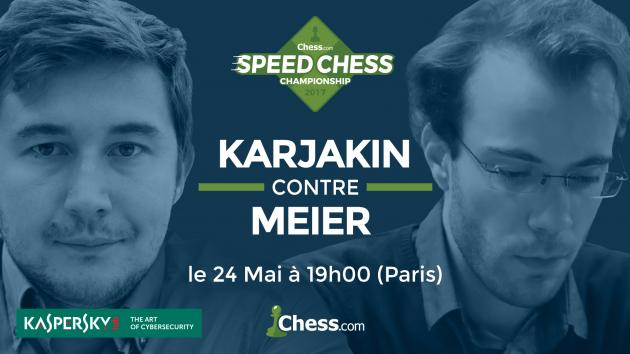 Le Speed Chess Championship reprend avec le match Karjakin Meier