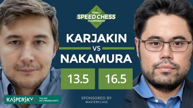 Nakamura Bate Karjakin, Joga Carlsen na Final do Speed Chess