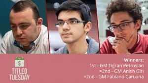 Petrosian Wins Titled Tuesday Ahead Of Giri, Caruana