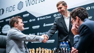 Schach-WM, Runde 11: Caruana hält mit Schwarz problemlos Remis