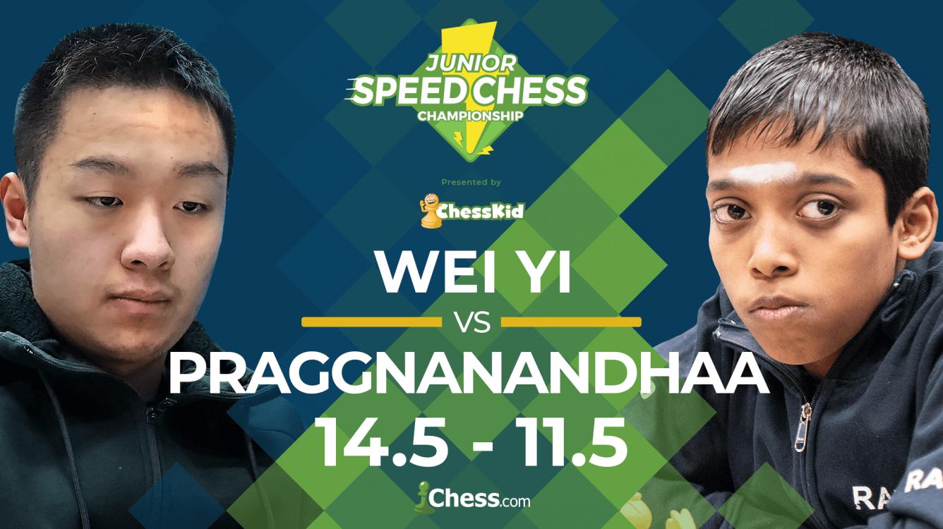 Junior Speed Chess: Wei Yi Beats Praggnanandhaa 14.5-11.5