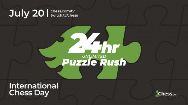 Celebra el Día Internacional del Ajedrez con 24 horas de Puzzle Rush ilimitado en Chess.com