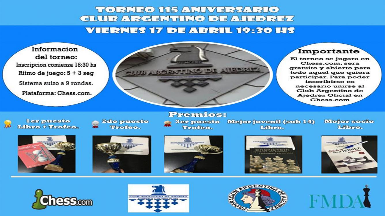 ! Torneo 115 Aniversario Club Argentino de Ajedrez ¡
