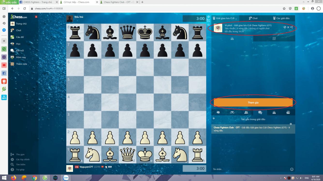 Giải giao lưu CLB Chess Fighters 18/4/2020
