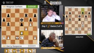 Kasparov se escapa ante Carlsen en su primer enfrentamiento en 16 años