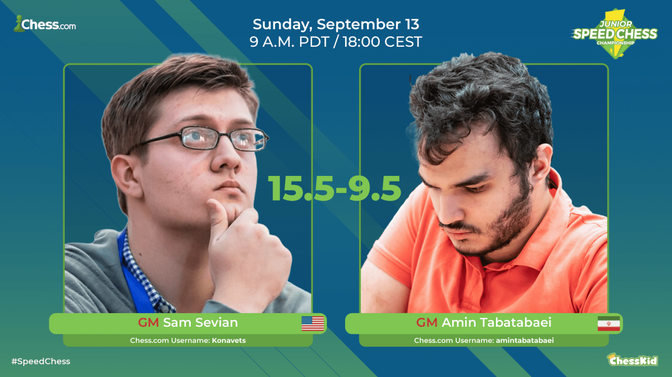 Sam Sevian Beats Amin TabatabaeiIn Junior Speed Chess Championship