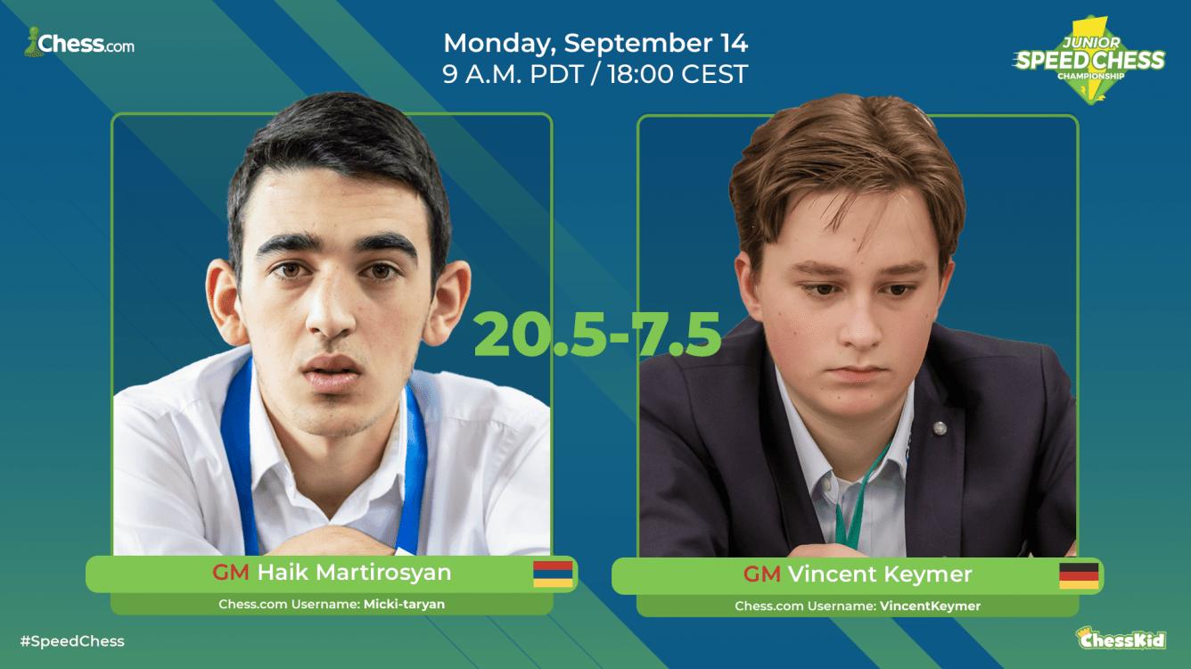 Haik Martirosyan Beats Vincent Keymer In Junior Speed Chess Championship