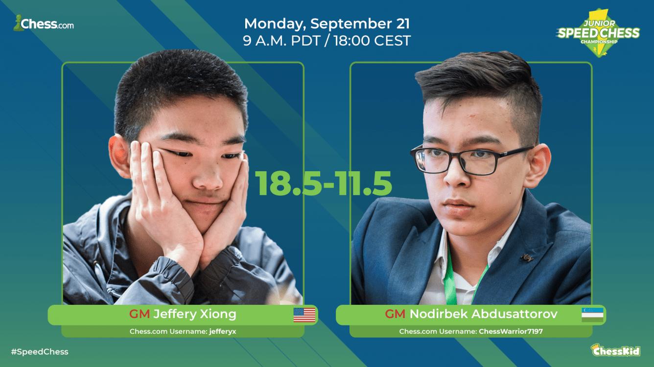 Xiong Beats Abdusattorov In Junior Speed Chess Championship