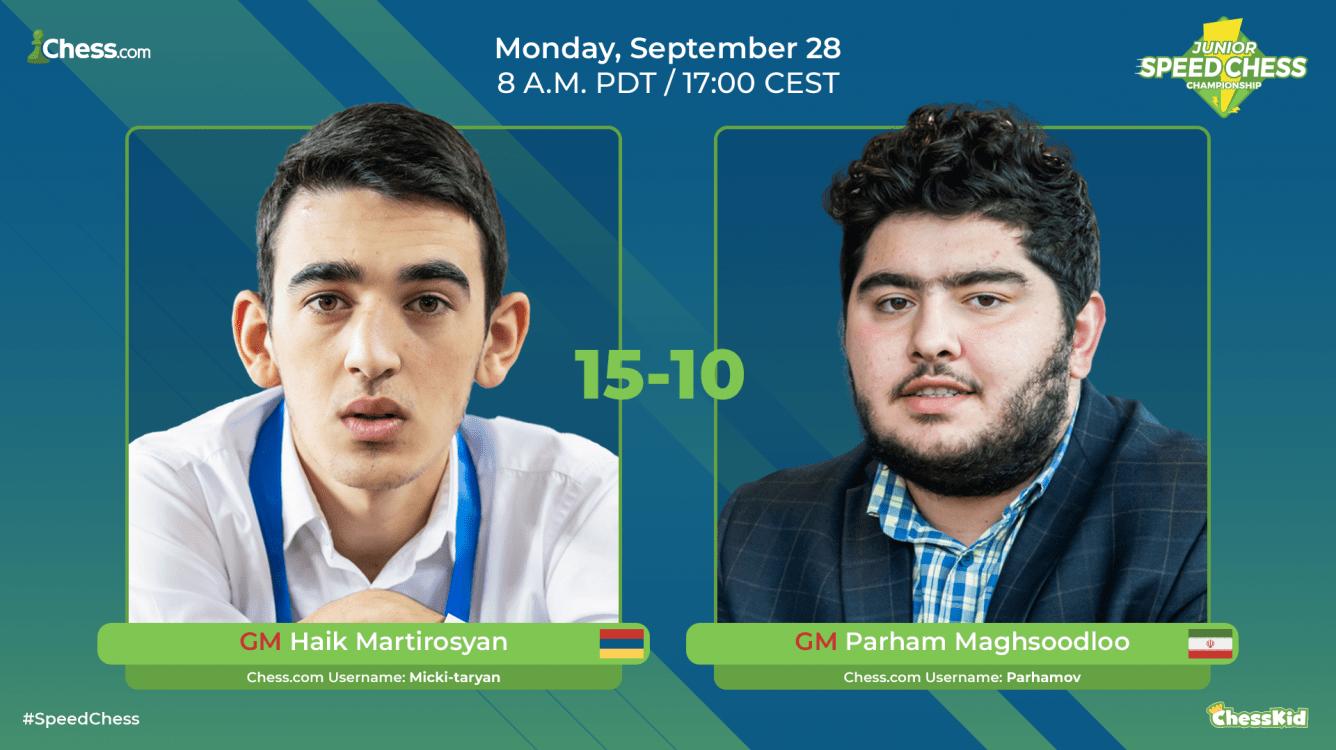 Duelo vibrante entre Martirosyan y Maghsoodloo en el Junior Speed Chess