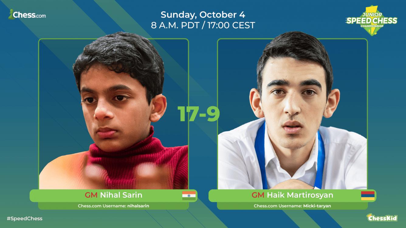 Nihal Beats Martirosyan, Reaches Junior Speed Chess Final