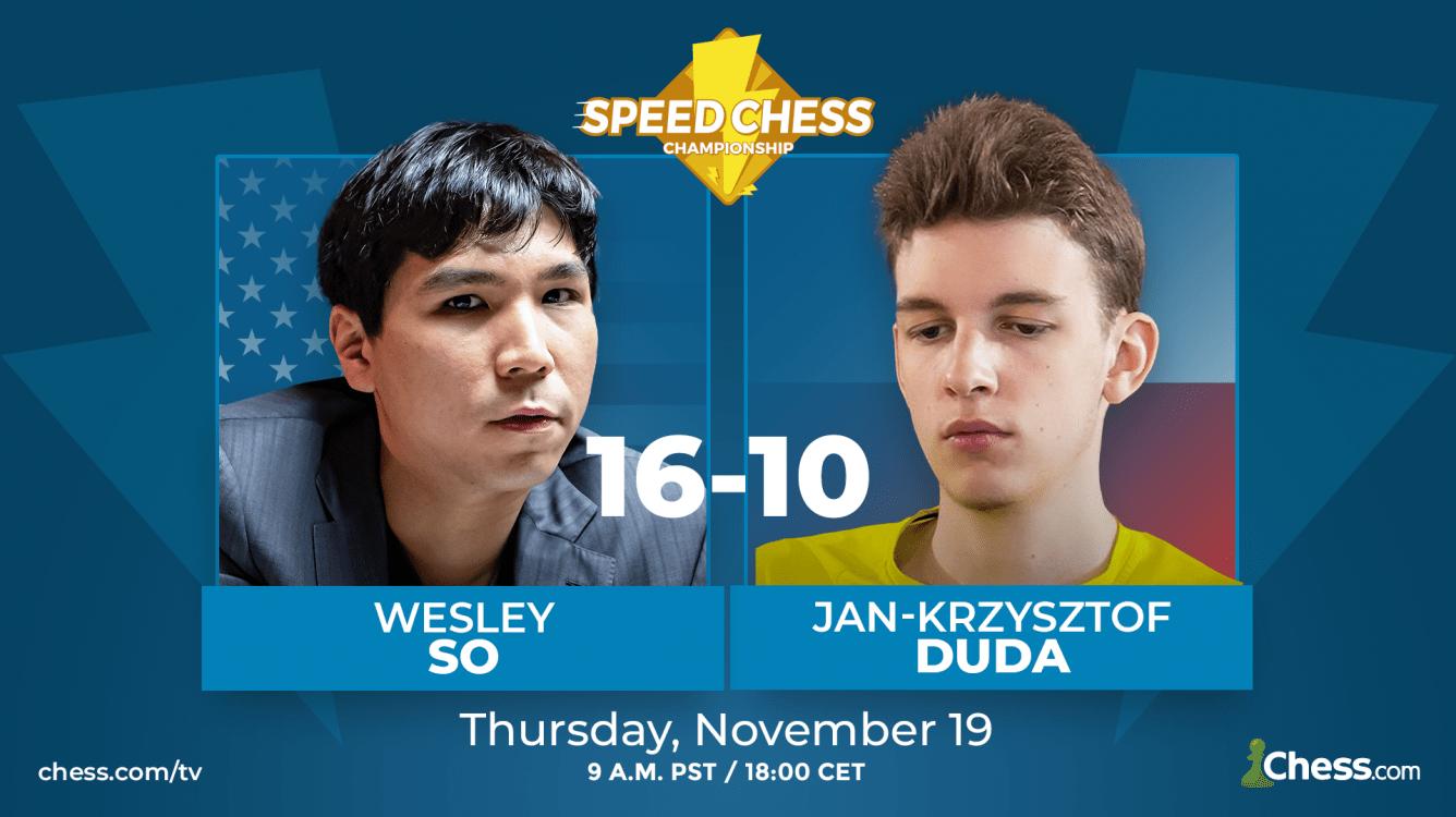 So, dzięki niesamowitemu wynikowi w segmencie 3+1, pokonuje Dudę w Speed Chess Championship