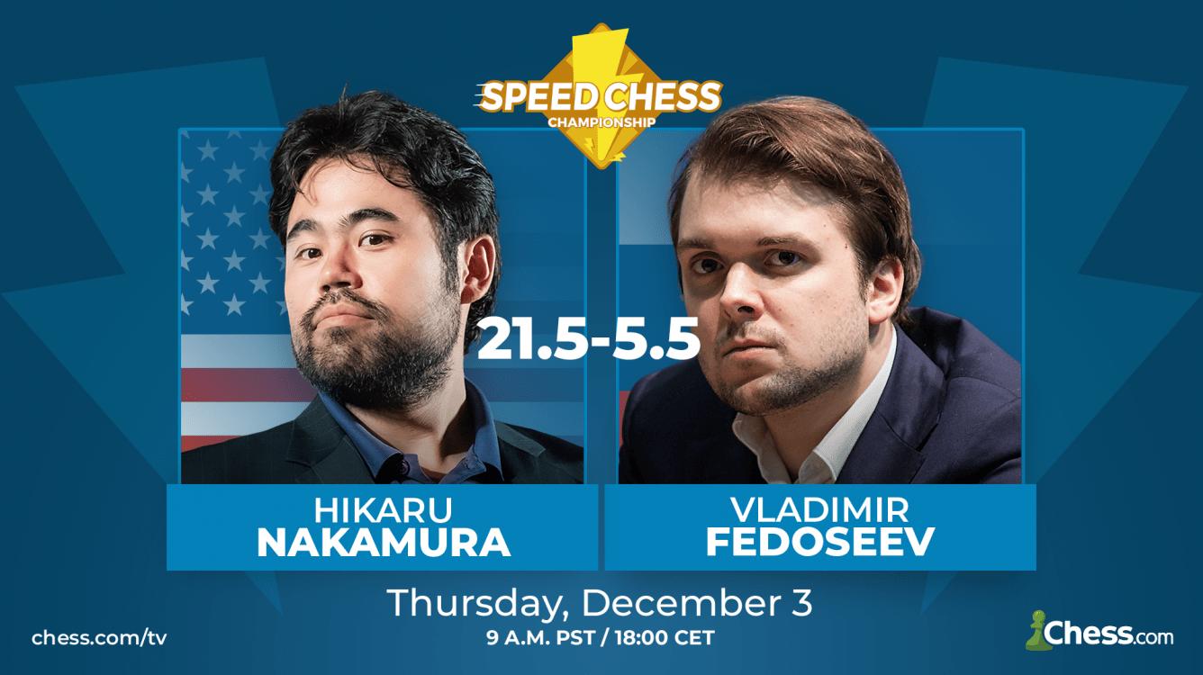 Nakamura fue demasiado fuerte para Fedoseev en su duelo del Speed Chess