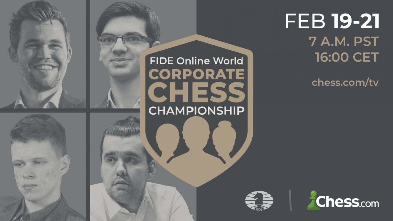 Carlsen jogará o Campeonato Mundial Corporativo de Xadrez Online da FIDE